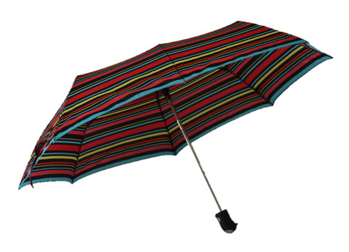 Compact Black Red Yellow Blue Stripes Umbrella Side