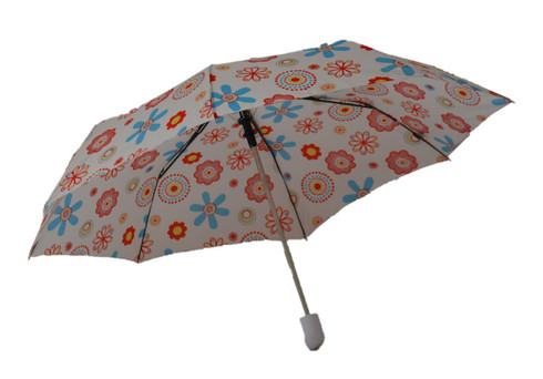 Compact White Flowers Umbrella Side