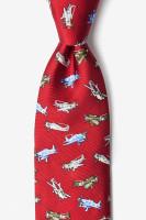 WWII Fighter Plane Necktie Red