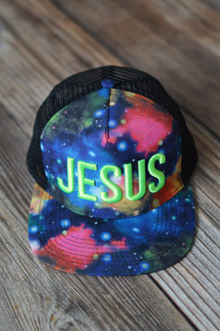 EMBROIDERED JESUS HAT - GREEN