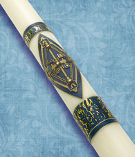 #41B - Prince of Peace - 51% Beeswax Paschal Candle Blue