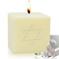 "4"" Soy Pillar Candle - Star of David"