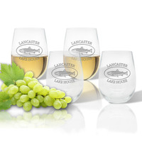 Stemless Wine Tumbler  (Set of 4) : Lakehouse and Trout