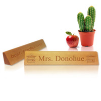 Personalized Wooden Desk Plate : ENGLISH