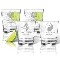 Tritan Double Old Fashioned Glasses 12oz (Set of 4): Solstice  with Name