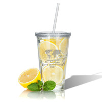 PERSONALIZED DOUBLE WALLED TUMBLER WITH STRAW(Unbreakable) : WORLD