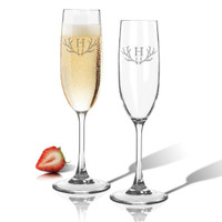 Tritan Champagne Flute 6.5oz (Set of 2) Antler Initial Motif