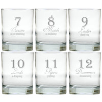 DAYS OF CHRISTMAS 7-12 OLD FASHIONED - SET OF 6 GLASS
