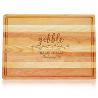 """Large Master Cutting Board 20"""" X 14.5"""" - Gobble With Name, Thanksgiving & Year"""