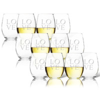 SET OF 3 - STEMLESS WINE TUMBLER - SET OF 4 (GLASS) : LOVE