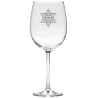 FANCY STAR OF DAVID WINE STEMWARE - SET OF 4 (GLASS)