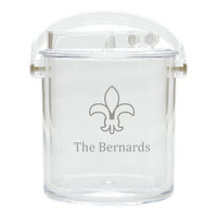 Personalized Insulated Ice Bucket with Tongs - Fluer De Lis