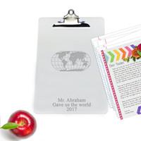 "Personalized Acrylic 10"" x 14"" Clipboard : WORLD"