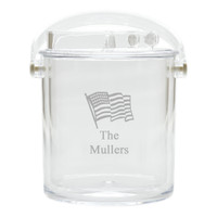 Personalized Insulated Ice Bucket with Tongs - Flag
