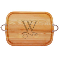 "EVERYDAY COLLECTION: 21"" x 15"" LARGE SERVING TRAY WITH NOUVEAU HANDLES PERSONALIZED"
