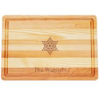 "Medium Master Cutting Boards 14.5"" X 10"" - Personalized Fancy Star Of David"