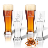PERSONALIZED SAILBOAT PILSNER GLASS: SET OF 4