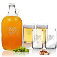 5 Piece Set: Growler  64 oz.  & Beer Can Glasses 16 oz (Set of 4) Mr & Mrs Bracket