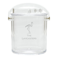 Personalized Insulated Ice Bucket with Tongs - Flamingo
