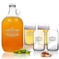 5 Piece Set: Growler  64 oz.  & Beer Can Glasses 16 oz (Set of 4) Scotts Design