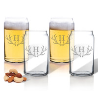 PERSONALIZED BEER CAN GLASSES GIFT SET: ANTLER MOTIF