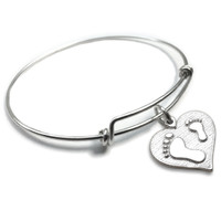 Mother Child Footprints Forever Charm Bangle