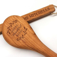 "12"" Cherry Wooden Spoon - Grateful Thankful Blessed Motif with Personalization"