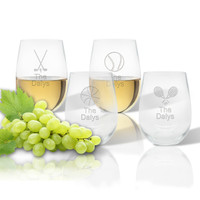 Stemless Wine Tumbler  (Set of 4) : Sports Variety  with name