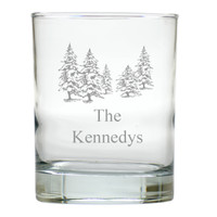 PERSONALIZED  PINE TREES OLD FASHIONED - SET OF 4 (Unbreakable)