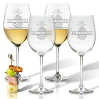 PERSONALIZED SPLIT LETTER PINEAPPLE WINE STEM SET OF FOUR 1
