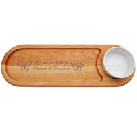 """EVERYDAY COLLECTION: 21""""x 7"""" DIP AND SERVE  BOARD: FOREVER AND ALWAYS MOTHER AND DAUGHTER"""