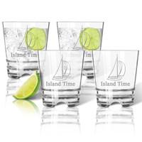 Tritan Double Old Fashioned Glasses 12oz (Set of 4) :  Sailboat