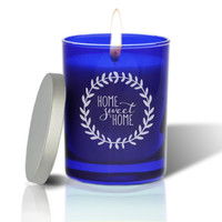 Sapphire Soy Glass Candle - Home Sweet Home with Wreath