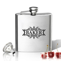 Stainless Steel Hip Flask (8 oz) Personalized to your desire.   Baker Design