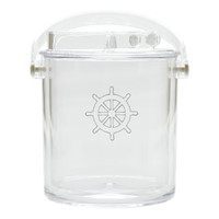 Insulated Ice Bucket with Tongs - Ship Wheel