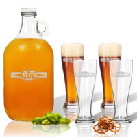 5 Piece Set: Growler  64 oz.  &  Pilsner Glass 16oz (Set of 4) Personalized Sport Food Drinks