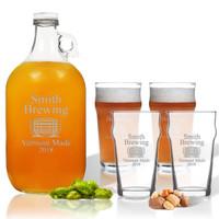 5 Piece Set: Growler  64 oz.  & Pub Glass  16 oz. (Set of 4) Personalized Brewing