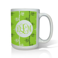 Personalized White Mug  15 oz.Asian Elements - Green TeaVine Monogram
