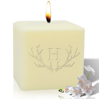 "4"" Soy Pillar Candle - Antler with Single Initial"