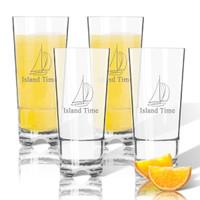 Tritan High Ball Glasses 16 oz (Set of 4) :  Sailboat
