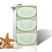 Signature Spa Trio - Green Tea & Bergamot: Antler with Single Initial