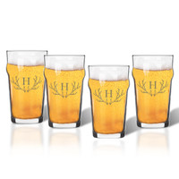 NONIC PINT GLASS SET OF 4 GLASSES: PERSONALIZED ANTLER MOTIF