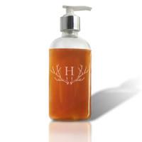 Personalized ANTLER MOTIF Glass Soap Dispenser - 8oz Boston Round