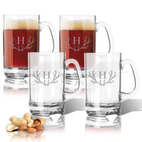 Tritan Sports Mug 16oz (Set of 4) Antler Initial Motif