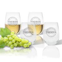 Stemless Wine Tumbler  (Set of 4) : Collegiate Sports Logo