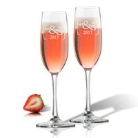 CHAMPAGNE FLUTE SET OF 2 (GLASS) : Mr & Mrs 2017
