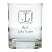 PERSONALIZED ROPE ANCHOR OLD FASHIONED: SET OF 6 (Glass)