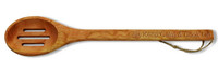 "15"" Slotted Cherry Wooden Spoon - Keep Calm and Cook On"