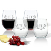 SET OF 4 WINE TUMBLERS - (GLASS) : PERSONALIZED ANTLER MOTIF