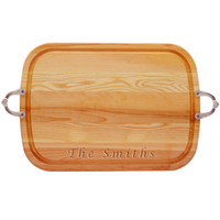 "EVERYDAY COLLECTION: 21"" x 15"" LARGE SERVING TRAY WITH NOUVEAU HANDLES -PERSONALIZED"